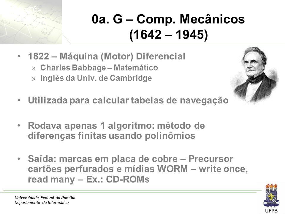 Universidade Federal da Paraíba Departamento de Informática 0a. G – Comp. Mecânicos (1642 – 1945) 1822 – Máquina (Motor) Diferencial »Charles Babbage