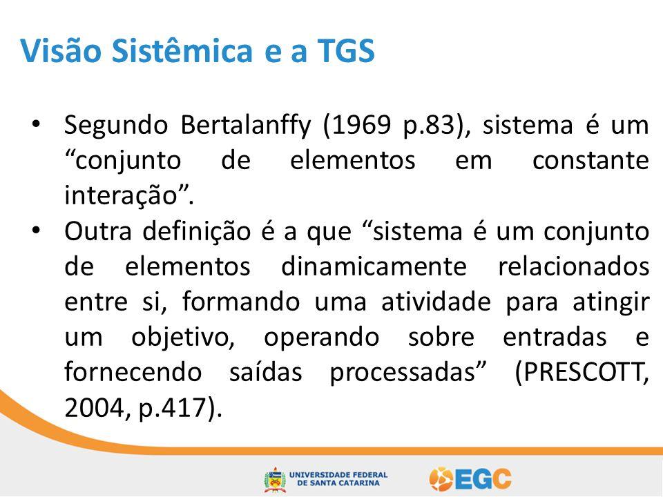Visão Sistêmica e a TGS Bunge (2000, p.149) resume o sistemismo em cinco pontos: 1.Tudo, seja concreto ou abstrato, é um sistema ou um atual ou potencial componente de um sistema; 2.Sistemas possuem características sistêmicas que seus componentes não possuem; 3.Todos os problemas devem ser abordados numa sistemática em vez de forma setorial; 4.Todas as ideias devem ser agrupadas em sistemas (teorias); 5.O teste de qualquer coisa, seja ideia ou artefato, assume a validade de outros itens, no que são tomados como referências, pelos menos para o momento.