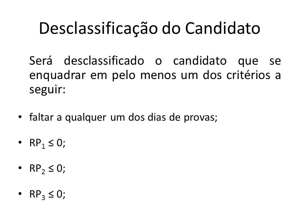 Desclassificação do Candidato Será desclassificado o candidato que se enquadrar em pelo menos um dos critérios a seguir: faltar a qualquer um dos dias