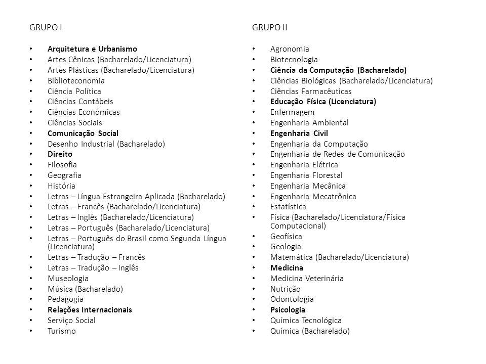 GRUPO I Arquitetura e Urbanismo Artes Cênicas (Bacharelado/Licenciatura) Artes Plásticas (Bacharelado/Licenciatura) Biblioteconomia Ciência Política C