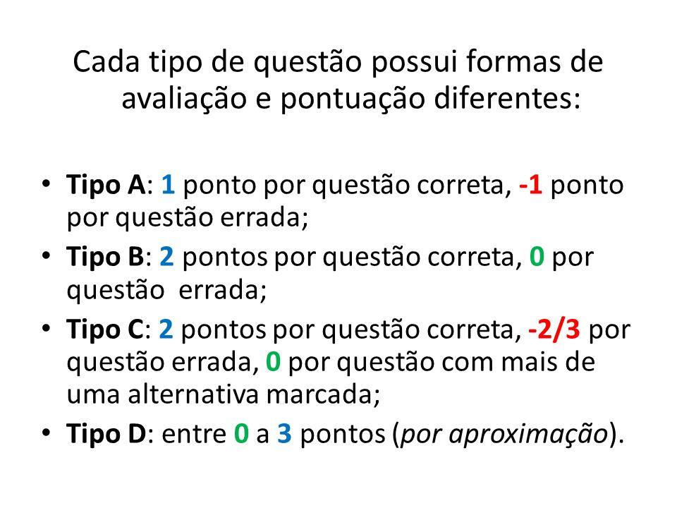 Cada tipo de questão possui formas de avaliação e pontuação diferentes: Tipo A: 1 ponto por questão correta, -1 ponto por questão errada; Tipo B: 2 po