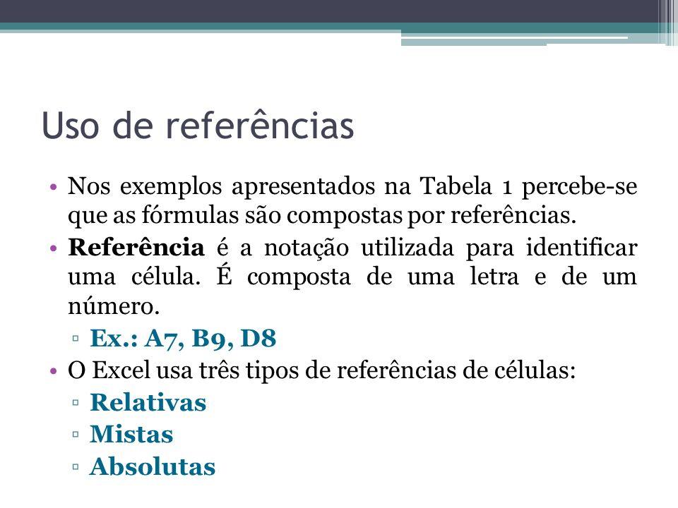 Uso de referências Nos exemplos apresentados na Tabela 1 percebe-se que as fórmulas são compostas por referências. Referência é a notação utilizada pa