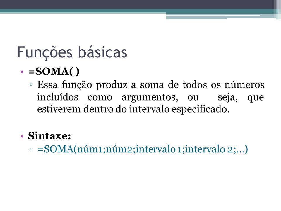 Funções básicas =SOMA( ) Essa função produz a soma de todos os números incluídos como argumentos, ou seja, que estiverem dentro do intervalo especific
