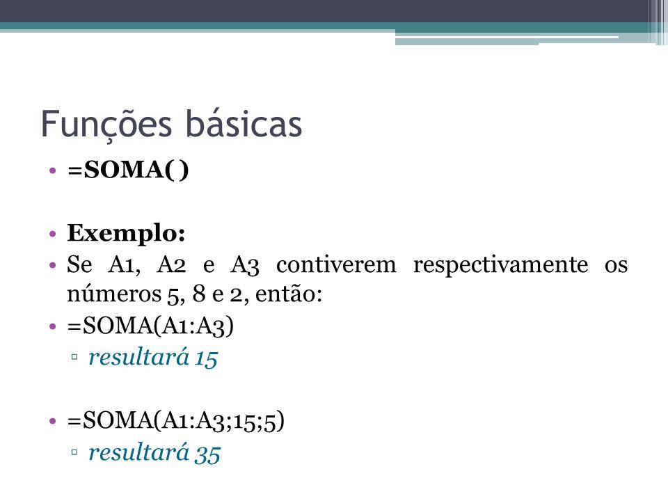 Funções básicas =SOMA( ) Exemplo: Se A1, A2 e A3 contiverem respectivamente os números 5, 8 e 2, então: =SOMA(A1:A3) resultará 15 =SOMA(A1:A3;15;5) re