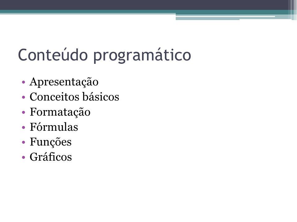 Conteúdo programático Apresentação Conceitos básicos Formatação Fórmulas Funções Gráficos