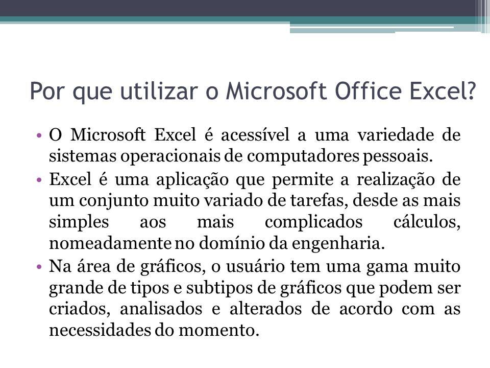 Por que utilizar o Microsoft Office Excel? O Microsoft Excel é acessível a uma variedade de sistemas operacionais de computadores pessoais. Excel é um