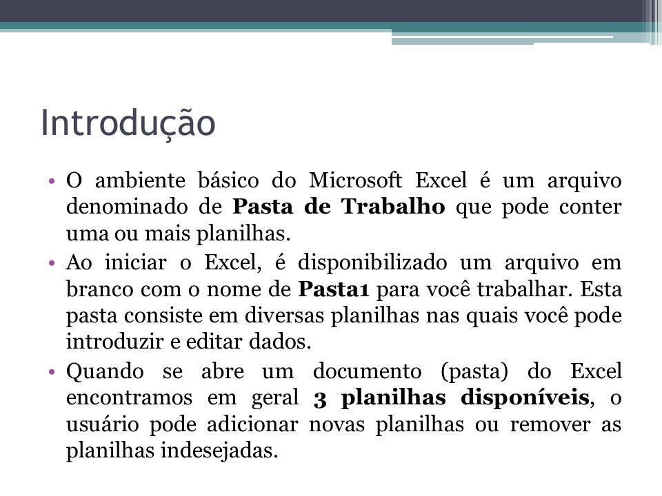 Introdução O ambiente básico do Microsoft Excel é um arquivo denominado de Pasta de Trabalho que pode conter uma ou mais planilhas. Ao iniciar o Excel