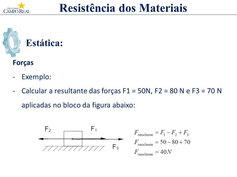 Estática: Forças -Exemplo: -Calcular a resultante das forças F1 = 50N, F2 = 80 N e F3 = 70 N aplicadas no bloco da figura abaixo: Resistência dos Materiais