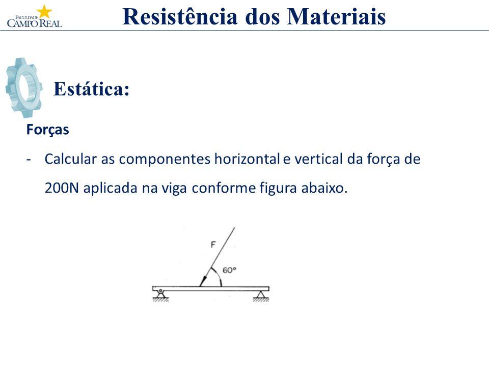 Estática: Forças -Calcular as componentes horizontal e vertical da força de 200N aplicada na viga conforme figura abaixo.
