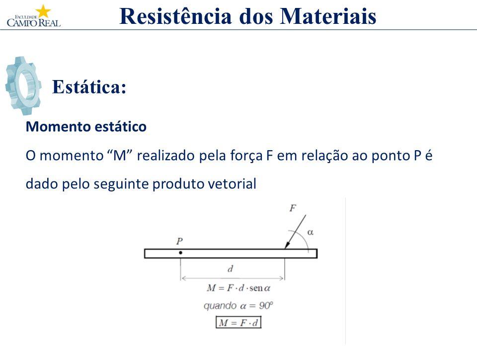 Estática: Momento estático O momento M realizado pela força F em relação ao ponto P é dado pelo seguinte produto vetorial Resistência dos Materiais