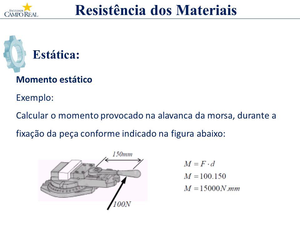 Estática: Momento estático Exemplo: Calcular o momento provocado na alavanca da morsa, durante a fixação da peça conforme indicado na figura abaixo: Resistência dos Materiais