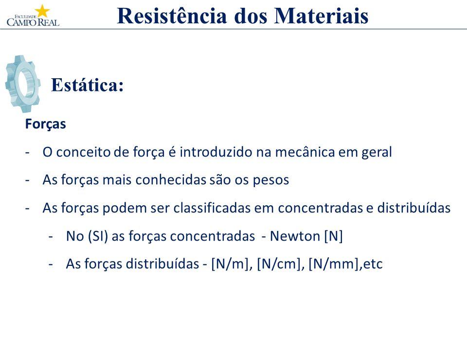 Estática: Forças -O conceito de força é introduzido na mecânica em geral -As forças mais conhecidas são os pesos -As forças podem ser classificadas em concentradas e distribuídas -No (SI) as forças concentradas - Newton [N] -As forças distribuídas - [N/m], [N/cm], [N/mm],etc Resistência dos Materiais