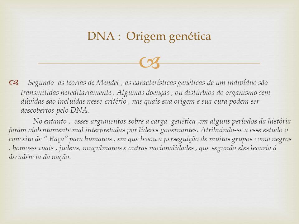 Segundo as teorias de Mendel, as características genéticas de um indivíduo são transmitidas hereditariamente. Algumas doenças, ou distúrbios do organi