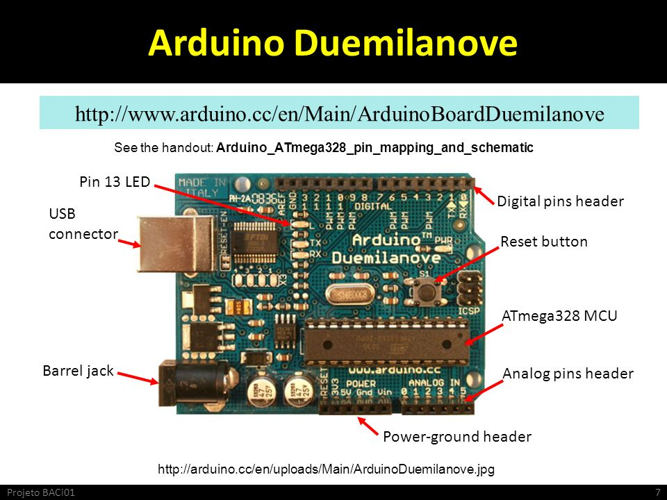 Arduino Duemilanove http://www.arduino.cc/en/Main/ArduinoBoardDuemilanove http://arduino.cc/en/uploads/Main/ArduinoDuemilanove.jpg Pin 13 LED USB connector Barrel jack Digital pins header Reset button ATmega328 MCU Analog pins header Power-ground header See the handout: Arduino_ATmega328_pin_mapping_and_schematic Projeto BACi017