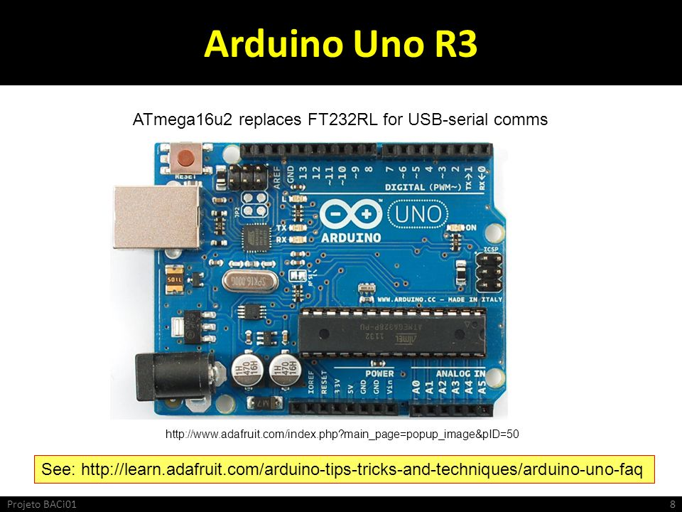 Arduino Uno R3 http://www.adafruit.com/index.php?main_page=popup_image&pID=50 ATmega16u2 replaces FT232RL for USB-serial comms See: http://learn.adafr