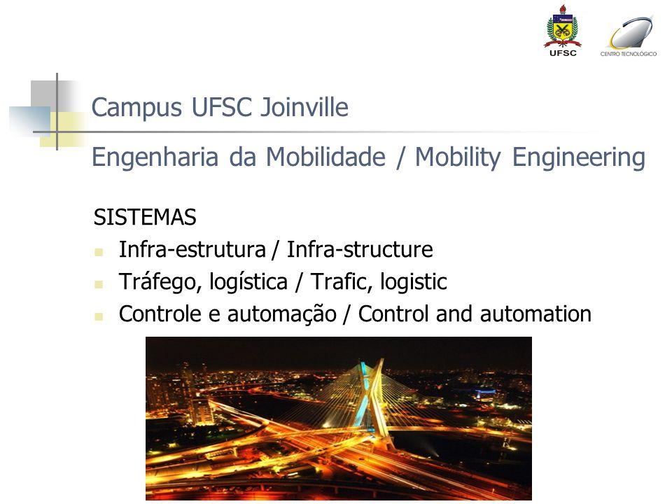 Campus UFSC Joinville Engenharia da Mobilidade / Mobility Engineering SISTEMAS Infra-estrutura / Infra-structure Tráfego, logística / Trafic, logistic