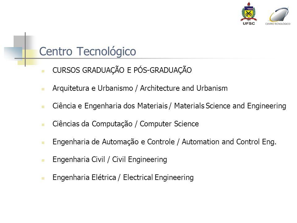 Centro Tecnológico CURSOS GRADUAÇÃO E PÓS-GRADUAÇÃO Arquitetura e Urbanismo / Architecture and Urbanism Ciência e Engenharia dos Materiais / Materials