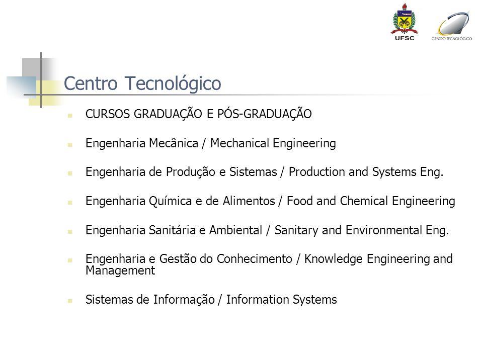 Centro Tecnológico CURSOS GRADUAÇÃO E PÓS-GRADUAÇÃO Engenharia Mecânica / Mechanical Engineering Engenharia de Produção e Sistemas / Production and Sy
