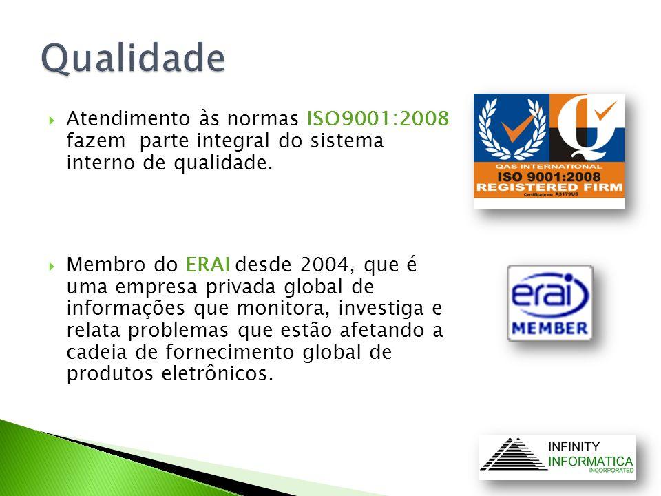 Atendimento às normas ISO9001:2008 fazem parte integral do sistema interno de qualidade. Membro do ERAI desde 2004, que é uma empresa privada global d