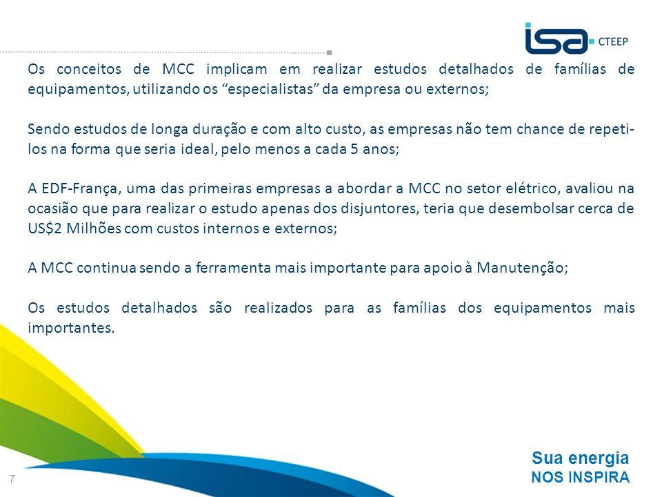 Sua energia NOS INSPIRA 7 Os conceitos de MCC implicam em realizar estudos detalhados de famílias de equipamentos, utilizando os especialistas da empr