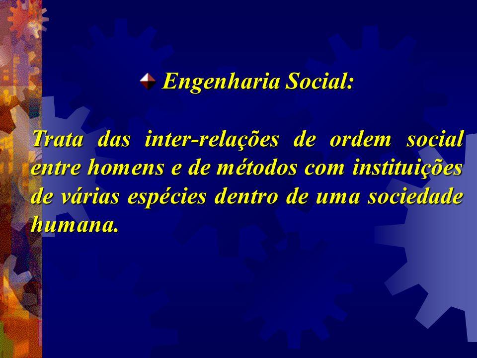 Engenharia Social: Engenharia Social: Trata das inter-relações de ordem social entre homens e de métodos com instituições de várias espécies dentro de