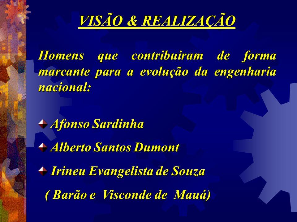 VISÃO & REALIZAÇÃO Homens que contribuiram de forma marcante para a evolução da engenharia nacional: Afonso Sardinha Afonso Sardinha Alberto Santos Du