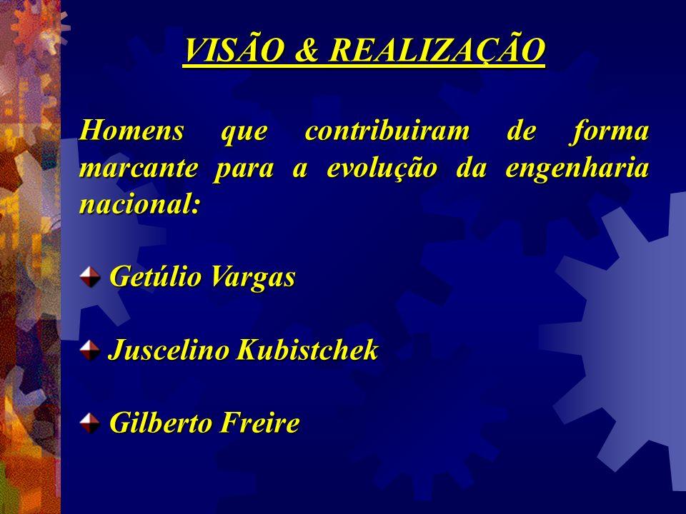 VISÃO & REALIZAÇÃO Homens que contribuiram de forma marcante para a evolução da engenharia nacional: Getúlio Vargas Getúlio Vargas Juscelino Kubistche