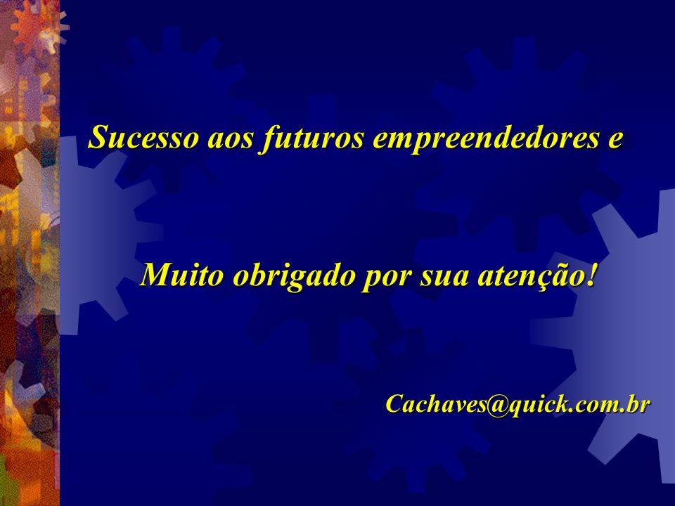 Sucesso aos futuros empreendedores e Muito obrigado por sua atenção! Cachaves@quick.com.br
