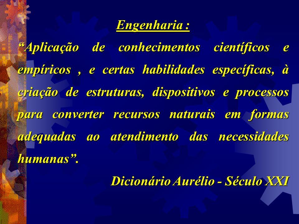 Engenharia : Aplicação de conhecimentos científicos e empíricos, e certas habilidades específicas, à criação de estruturas, dispositivos e processos p