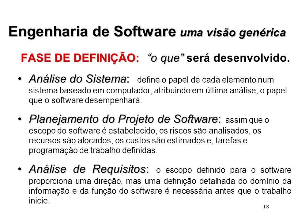 17 Engenharia de Software uma visão genérica O processo de desenvolvimento de software contém 3 fases genéricas, independentes do modelo de engenharia