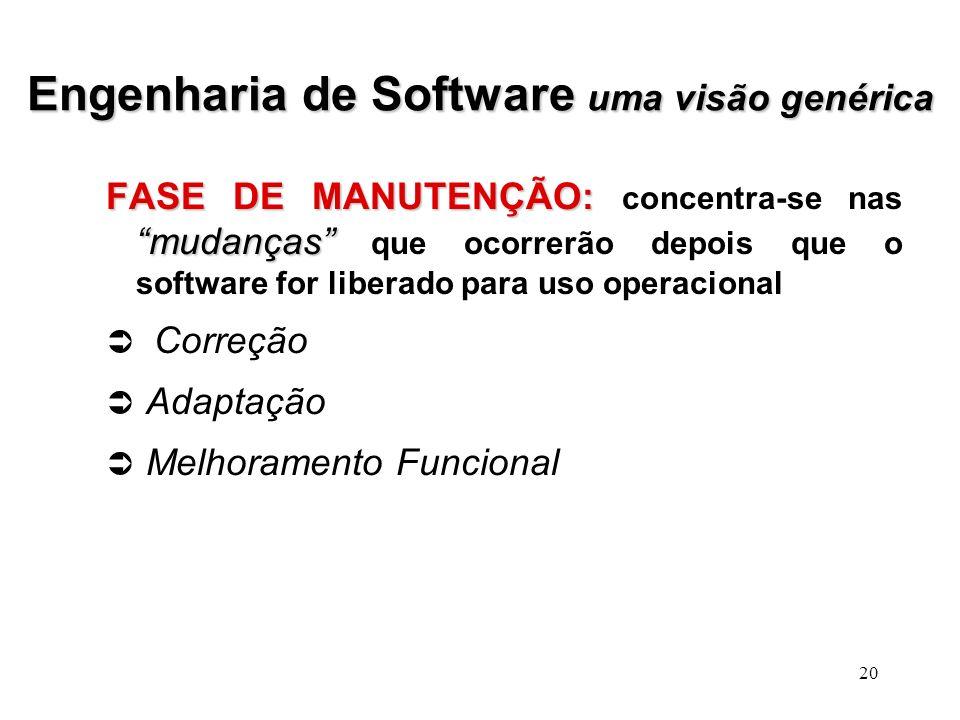19 Engenharia de Software uma visão genérica DESENVOLVIMENTO: como DESENVOLVIMENTO: como o software vai ser desenvolvido. Projeto de Software: Projeto