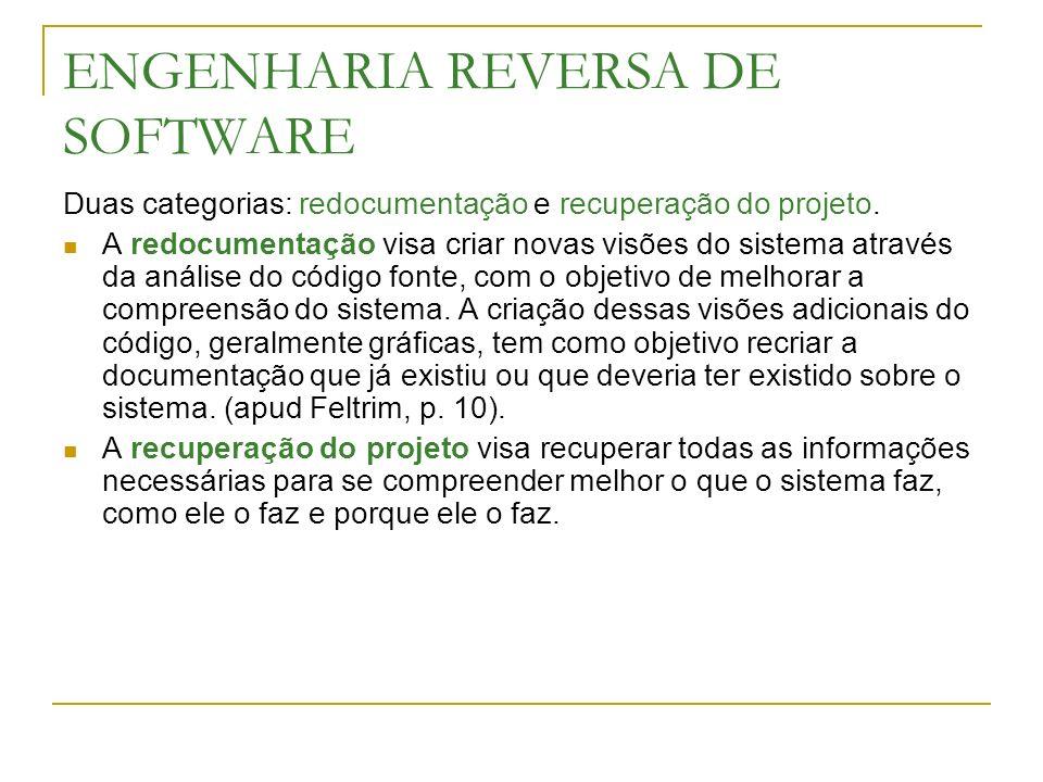 ENGENHARIA REVERSA DE SOFTWARE Duas categorias: redocumentação e recuperação do projeto. A redocumentação visa criar novas visões do sistema através d