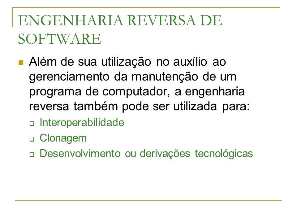 ENGENHARIA REVERSA DE SOFTWARE Além de sua utilização no auxílio ao gerenciamento da manutenção de um programa de computador, a engenharia reversa tam