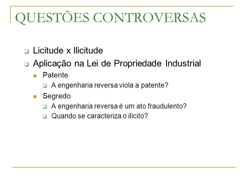 QUESTÕES CONTROVERSAS Licitude x Ilicitude Aplicação na Lei de Propriedade Industrial Patente A engenharia reversa viola a patente? Segredo A engenhar