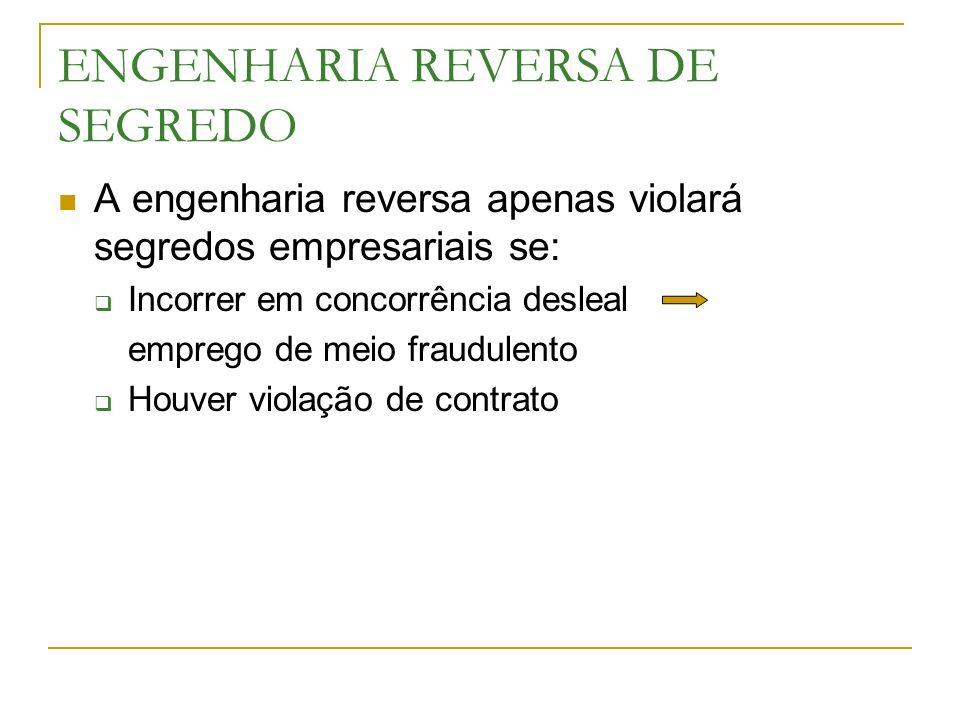 ENGENHARIA REVERSA DE SEGREDO A engenharia reversa apenas violará segredos empresariais se: Incorrer em concorrência desleal emprego de meio fraudulen