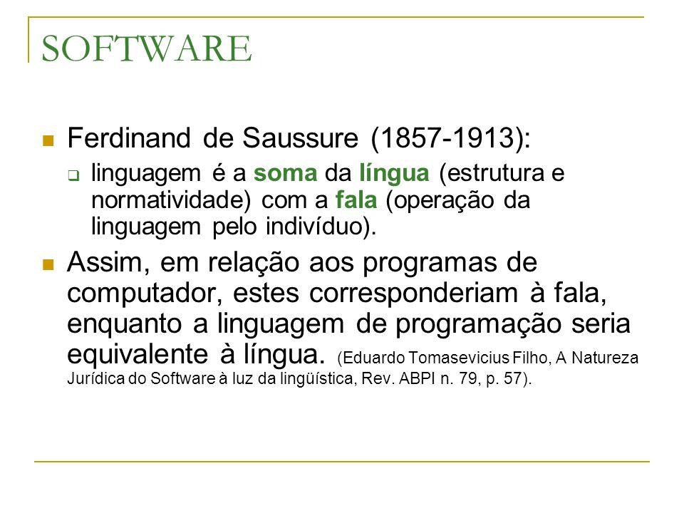 SOFTWARE Ferdinand de Saussure (1857-1913): linguagem é a soma da língua (estrutura e normatividade) com a fala (operação da linguagem pelo indivíduo)