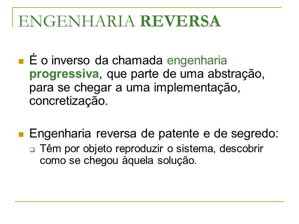 ENGENHARIA REVERSA É o inverso da chamada engenharia progressiva, que parte de uma abstração, para se chegar a uma implementação, concretização. Engen