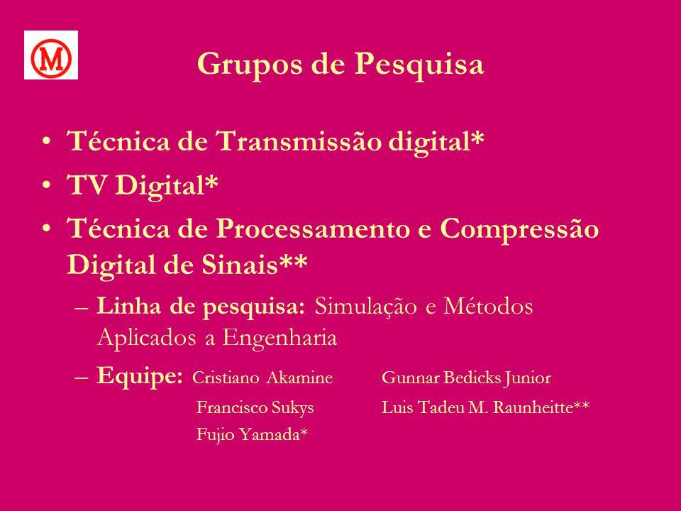 Grupos de Pesquisa Técnica de Transmissão digital* TV Digital* Técnica de Processamento e Compressão Digital de Sinais** –Linha de pesquisa: Simulação