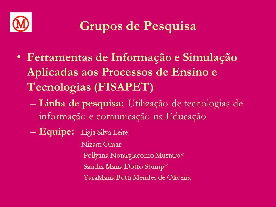 Grupos de Pesquisa Ferramentas de Informação e Simulação Aplicadas aos Processos de Ensino e Tecnologias (FISAPET) –Linha de pesquisa: Utilização de t