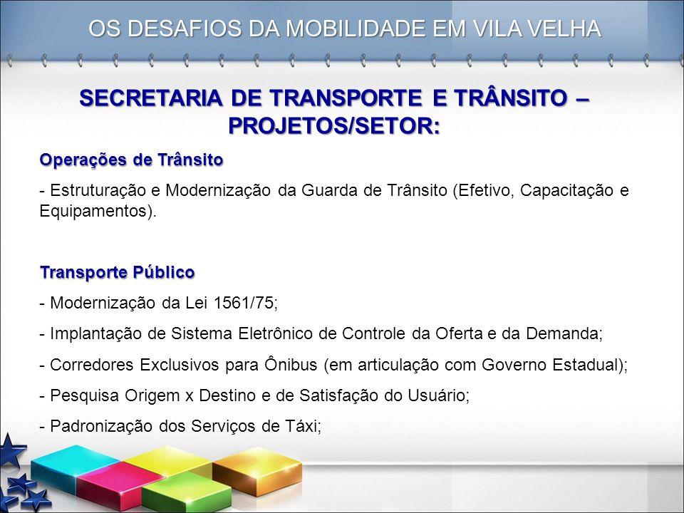OS DESAFIOS DA MOBILIDADE EM VILA VELHA SECRETARIA DE TRANSPORTE E TRÂNSITO – PROJETOS/SETOR: Operações de Trânsito - Estruturação e Modernização da G