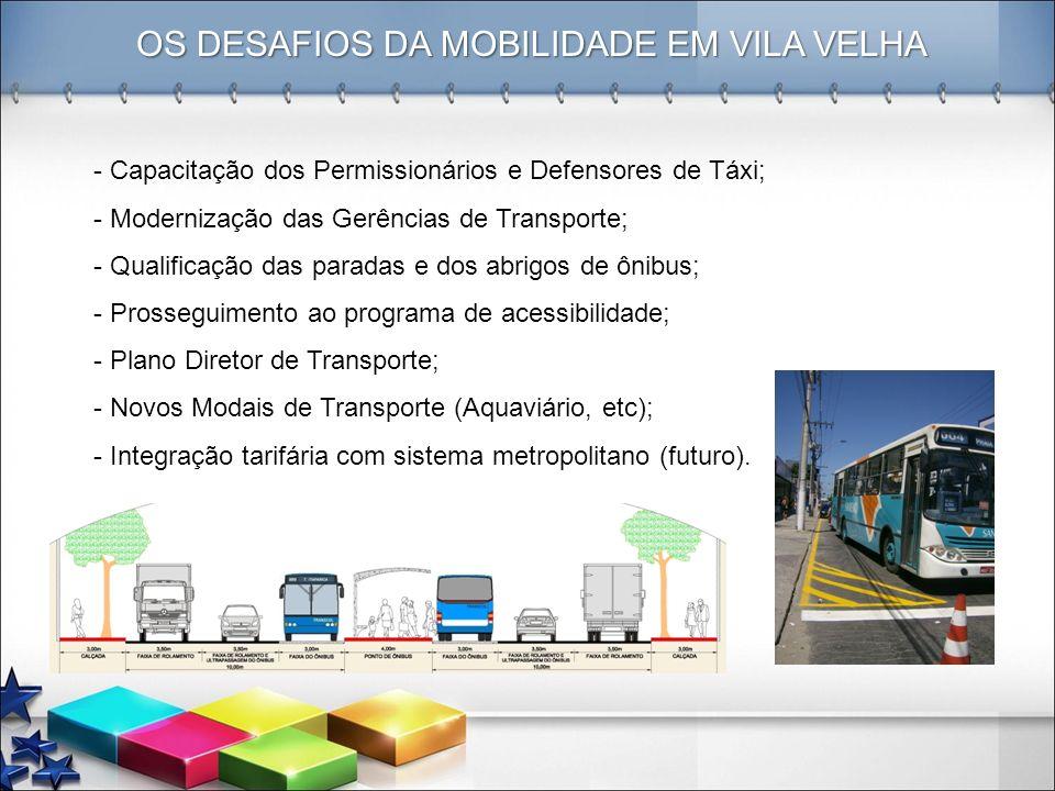 OS DESAFIOS DA MOBILIDADE EM VILA VELHA - Capacitação dos Permissionários e Defensores de Táxi; - Modernização das Gerências de Transporte; - Qualific