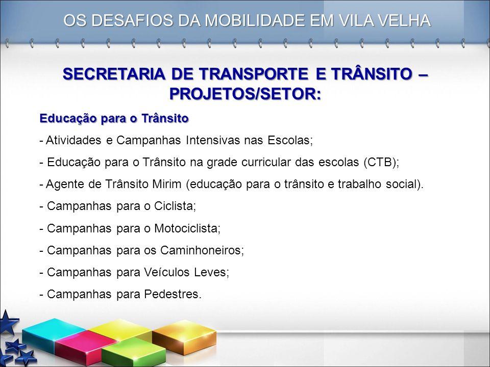 OS DESAFIOS DA MOBILIDADE EM VILA VELHA SECRETARIA DE TRANSPORTE E TRÂNSITO – PROJETOS/SETOR: Educação para o Trânsito - Atividades e Campanhas Intens