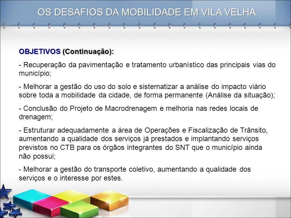 OS DESAFIOS DA MOBILIDADE EM VILA VELHA OBJETIVOS (Continuação): - Recuperação da pavimentação e tratamento urbanístico das principais vias do municíp
