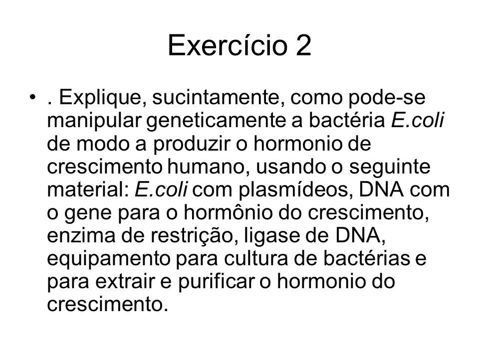 Exercício 2. Explique, sucintamente, como pode-se manipular geneticamente a bactéria E.coli de modo a produzir o hormonio de crescimento humano, usand