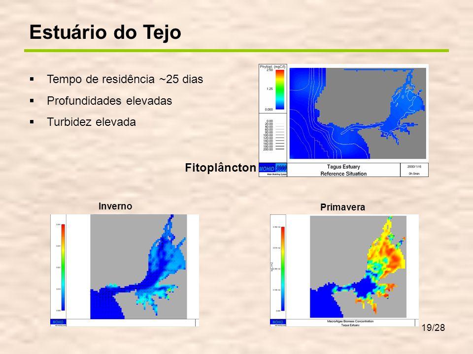 19/28 Primavera Inverno Estuário do Tejo Tempo de residência ~25 dias Profundidades elevadas Turbidez elevada Fitoplâncton