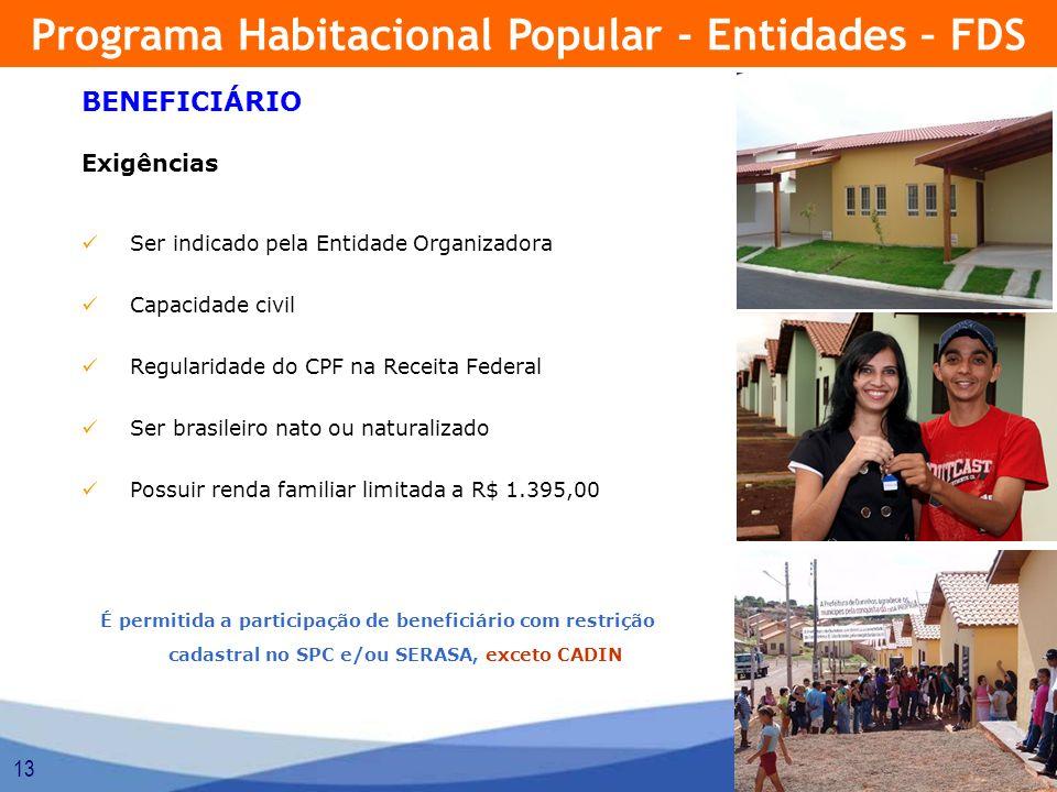 13 BENEFICIÁRIO Exigências Ser indicado pela Entidade Organizadora Capacidade civil Regularidade do CPF na Receita Federal Ser brasileiro nato ou natu