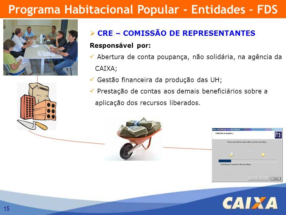 15 CRE – COMISSÃO DE REPRESENTANTES Responsável por: Abertura de conta poupança, não solidária, na agência da CAIXA; Gestão financeira da produção das