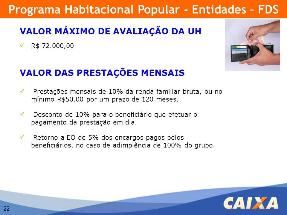 22 VALOR MÁXIMO DE AVALIAÇÃO DA UH R$ 72.000,00 VALOR DAS PRESTAÇÕES MENSAIS Prestações mensais de 10% da renda familiar bruta, ou no mínimo R$50,00 p