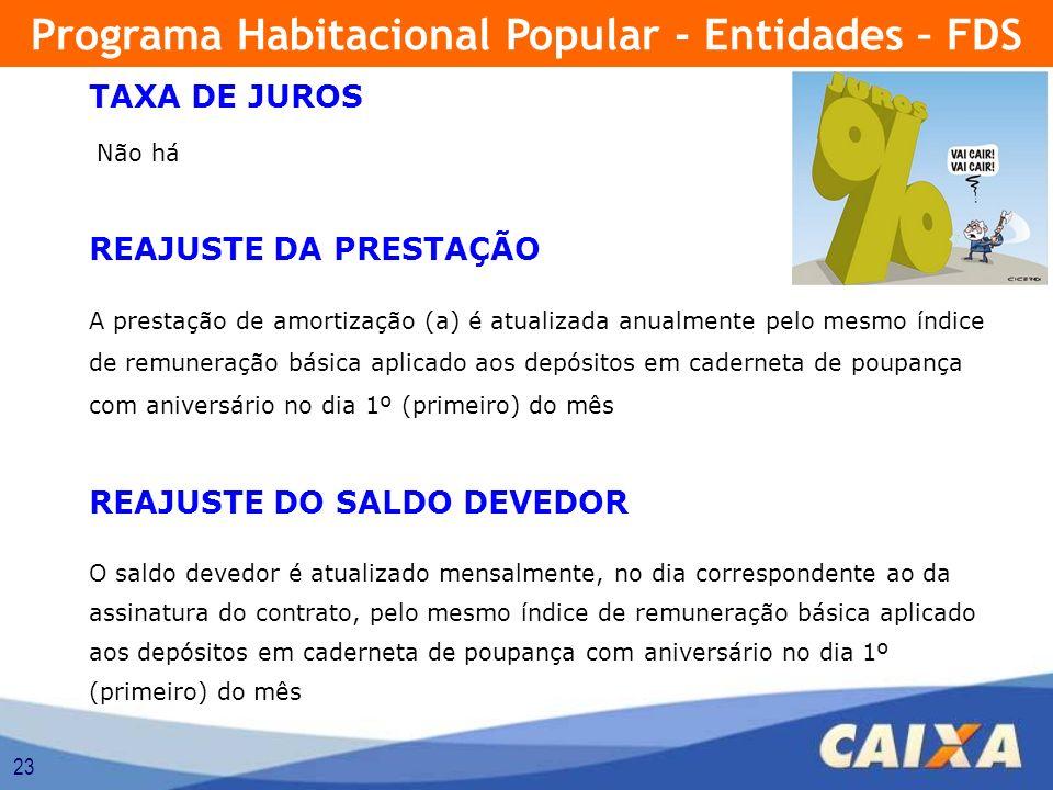 23 TAXA DE JUROS Não há REAJUSTE DA PRESTAÇÃO A prestação de amortização (a) é atualizada anualmente pelo mesmo índice de remuneração básica aplicado