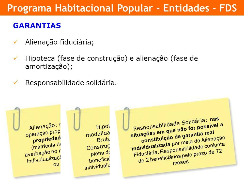 24 GARANTIAS Alienação fiduciária; Hipoteca (fase de construção) e alienação (fase de amortização); Responsabilidade solidária. Alienação: nas propost